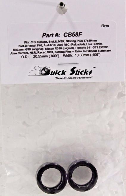 Quick Slicks CB58F Silicone Tires for 17x10mm Slot.it, NSR, Carrera, SCX, etc. 1/32 Slot Car Part