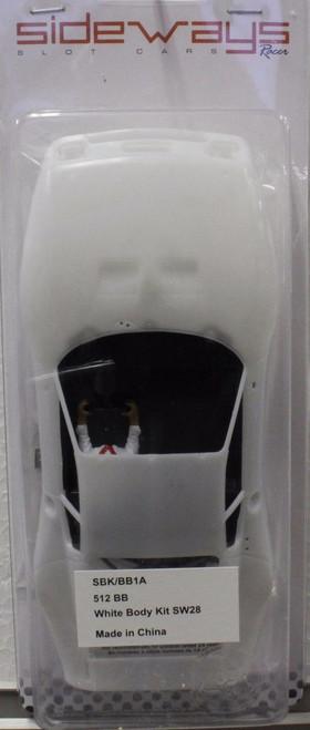 SBK/BB1A Racer Sideways Ferrari 512BB LM White Body Kit 1/32 Slot Car Part