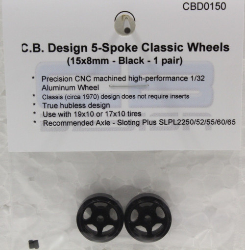 CBD0150 CB Design 5-Spoke Classic Wheels 15x8mm (Black) 1:32 Slot Car Part
