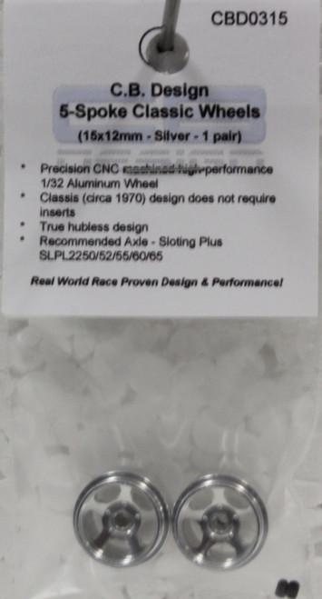 CBD0315 CB Design 5-Spoke Classic Wheels 15x12mm (Silver) 1:32 Slot Car Part