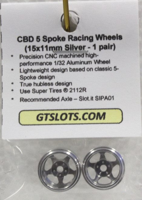 CBD0020 CB Design 5-Spoke Racing Wheels 15x11mm (Silver) 1:32 Slot Car Part