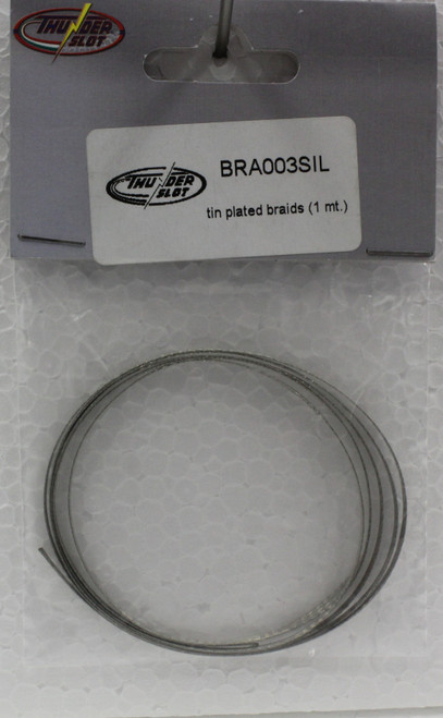 BRA003SIL Thunderslot Tin Plated Braid - 1 Meter 1:32 Slot Car Part