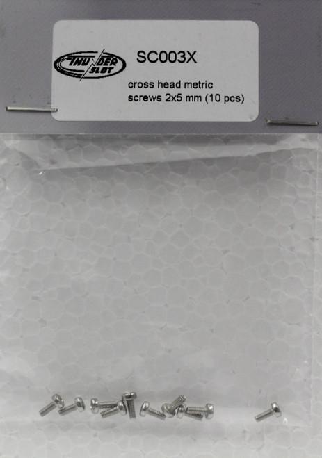 SC003X Thunderslot Cross Head Metric Screws - 2x8mm - 10 pieces 1:32 Slot Car Part