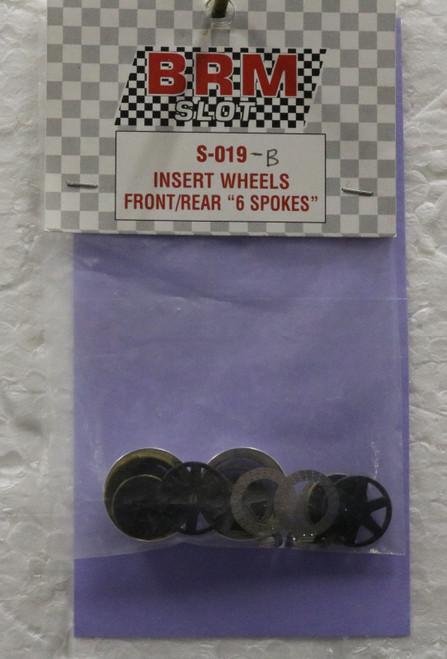 S-019B BRM Insert Wheels Front/Rear 6-Spoke 1:24 Slot Car Part