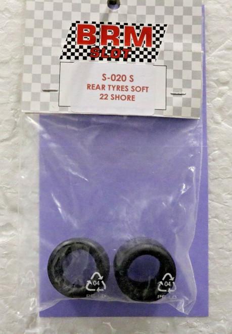 S-020S BRM Group C Rear Tires Soft 29x15.5 Rubber F22 Compound 1:24 Slot Car Part