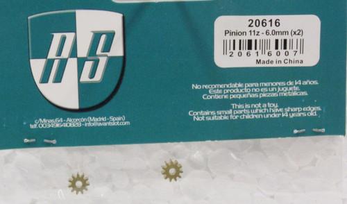 20616 Avant Slot 11-Tooth Slot Pinion 6mm (2 Pieces) 1:32 Slot Car Part