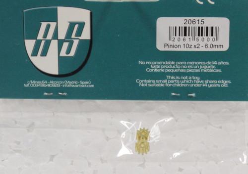 20615 Avant Slot 10-Tooth Brass Pinion 6mm (2 Pieces) 1:32 Slot Car Part