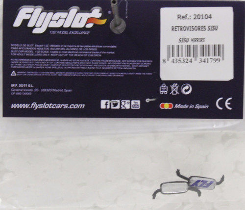 20104 Fly Mirrors for Sisu Truck (Silver) 1:32 Slot Car Part