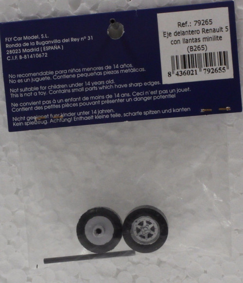 79265 (B265) Fly Renault 5 MINILITE Front Axle with Wheels 1:32 Slot Car Part