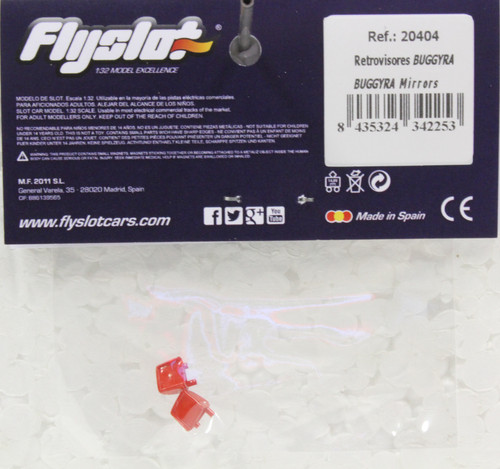 20404 Fly Mirrors for Buggyra Truck (Red) 1:32 Slot Car Part