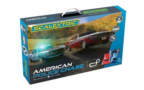 C1405 American Police Chase (AMC Javelin Police car v Dodge Challenger) 1:32 Slot Car Set