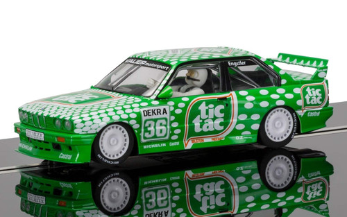 C3865 Scalextric BMW M3 E30 Sport Evolution Team Tic Tac w/Lights, #36 1:32 Slot Car *DPR*