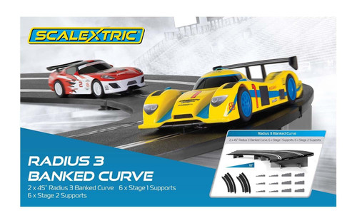 C8297 Scalextric Radius 3 10 Degree Banked Curve Track with Supports 1:32 Slot Car Track