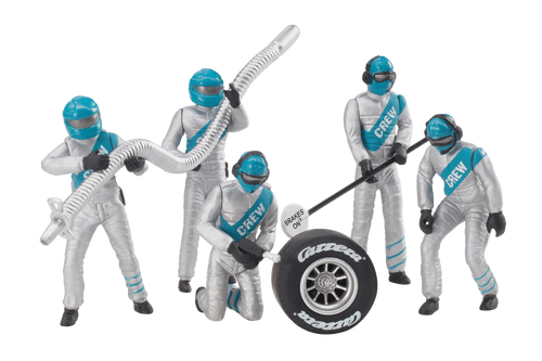 21133 Carrera Mechanics Figure Set (5 Silver/Turquoise) 1:24 & 1:32 Slot Car Accessory