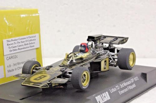 CAR02C Policar Lotus 72 3rd Monaco GP 1972 Emerson Fittipaldi, #8 1:32 Slot Car