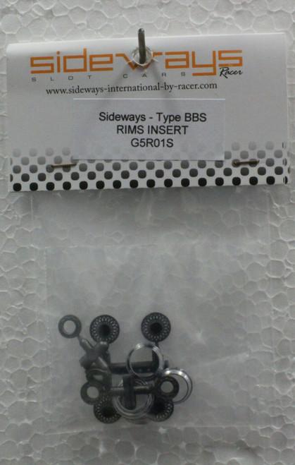 G5R01S Racer Sideways Type BBS Silver Wheel Inserts 1:32 Slot Car Part