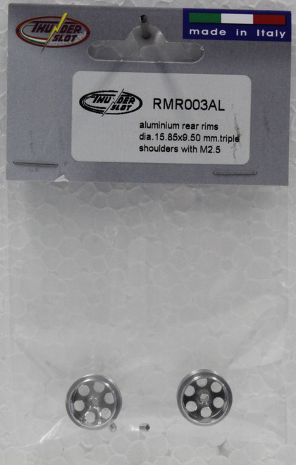 RMR003AL Thunderslot Aluminum Rear Rims 15.85x9.5mm Triple Shoulders with M2.5 1:32 Slot Car Part