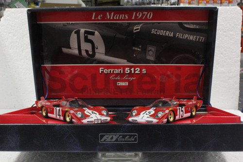 TEAM02/96002 GB Track by Fly Ferrari 512S Coda Lunga Scuderia Filipinetti Team Twin-Pack 1:32 Slot Car
