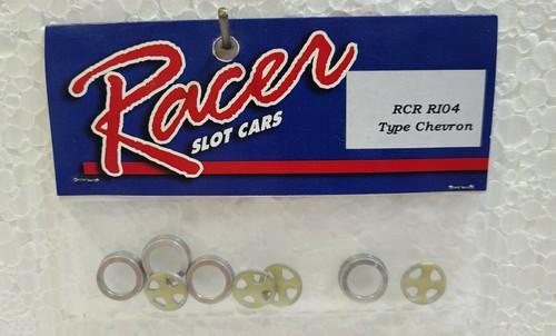 RCR104 Racer Wheel Inserts / Trim Rings For Chevron 1:32 Slot Car Part