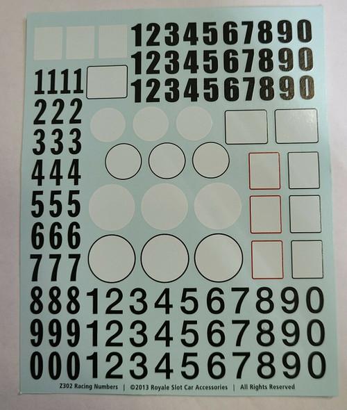 Z302 Piranha Numbers (90) & Roundels (24) Water Slide Decal Sheet 1:32 Slot Car Part