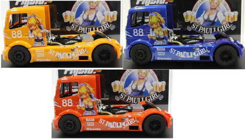 202311ABC Fly Mercedes Benz Truck St Pauli Girl Special Edition Anime #88 Triple Pack (Orange, Yellow, and Blue) 1/32 Slot Car
