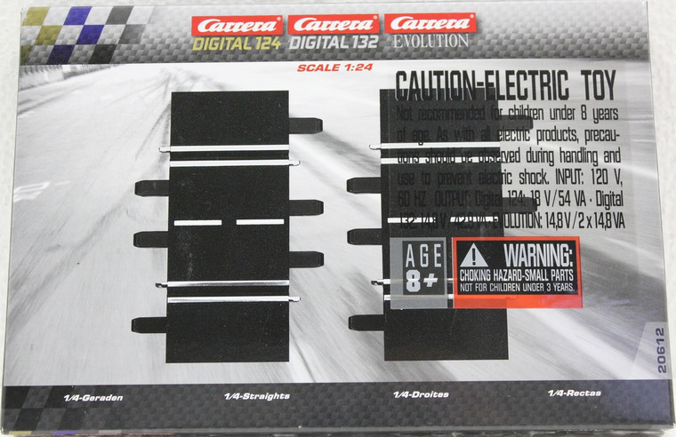 20612 Carrera 1/4 Straight Track (2) for 1/24 and 1/32 Scale Tracks