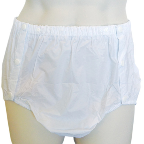 Cuddlz white side snap plastic pants for adults