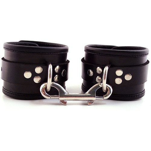 Black Rouge High Quality Black Leather Wrist Cuffs With Coloured Piping on the edges For Bondage BDSM Restraints
