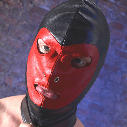 Rouge Leather Full Face Gimp Mask Hood With D Ring And Lockable Buckle Black Red Yellow White Blue Bondage BDSM Slave