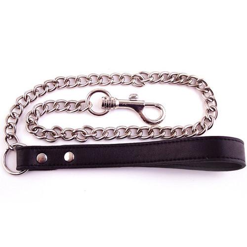 Black Rouge Leather slave lead with metal chain for bondage bdsm Leash