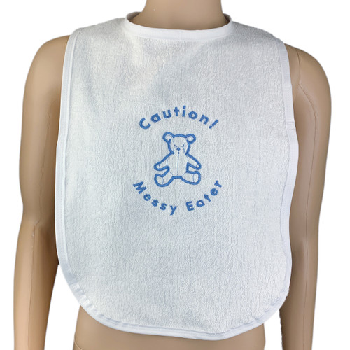 Messy Eater White Adult Bib With White Blue or Pink Edging