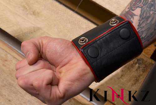 Leather wristband wallet with coloured piping bondage bdsm fetish master slave clubbing