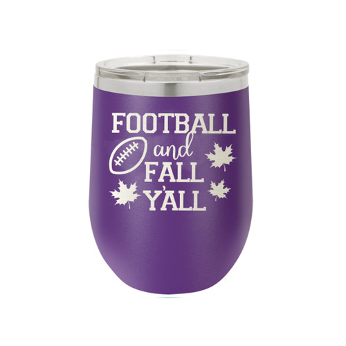 Purple Football And Fall Y'all 12oz Insulated Tumbler