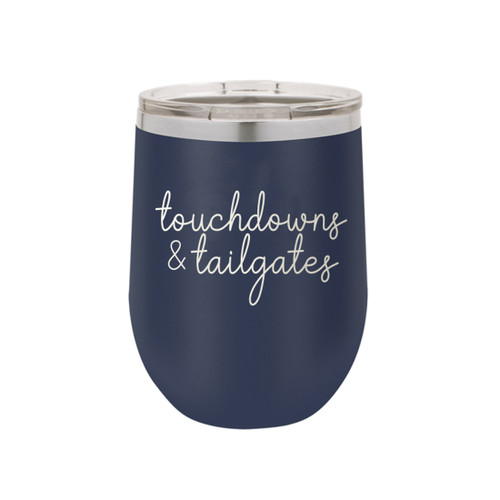Navy Touchdowns & Tailgates 12oz Insulated Tumbler