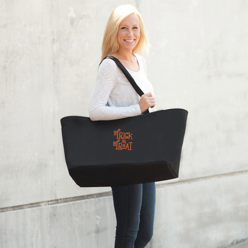 Embroidered Trick Or Treat Black Ultimate Tote