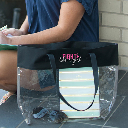 Fight Like A Girl Black Clear Tote