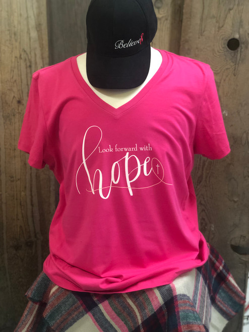 "Believe ""V"" Neck Cotton Tee ~ Pink"