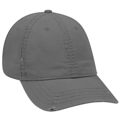 GREY GARMENT WASHED DISTRESSED COTTON TWILL LOW PROFILE HAT
