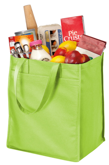 Port Authority® - Extra-Wide Polypropylene Grocery Tote - Lime Green