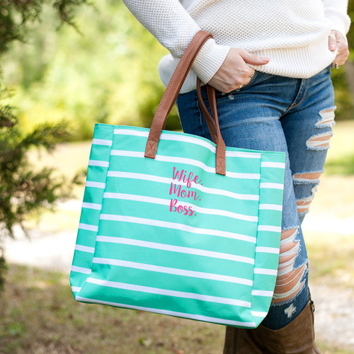 Wife.Mom.Boss. Mint Stripe Tote