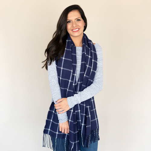 Navy Plaid Adaline Scarf