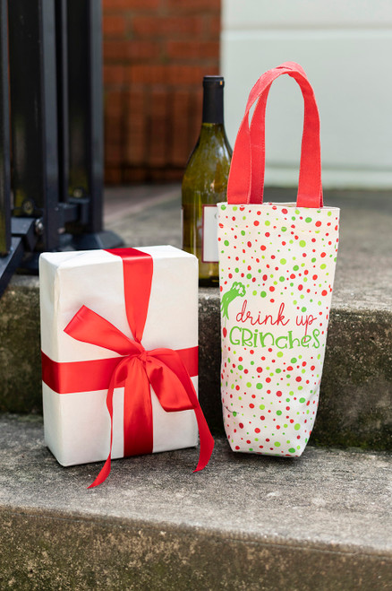Drink Up Cotton Grinches Wine Bag