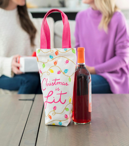Christmas Is Lit Cotton Wine Bag