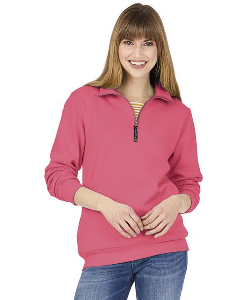 ADULT CROSSWIND QUARTER ZIP SWEATSHIRT~PREPPY PINK