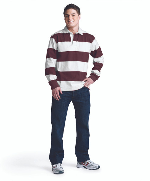 CHARLES RIVER ADULT CLASSIC RUGBY SHIRT~MAROON/WHITE