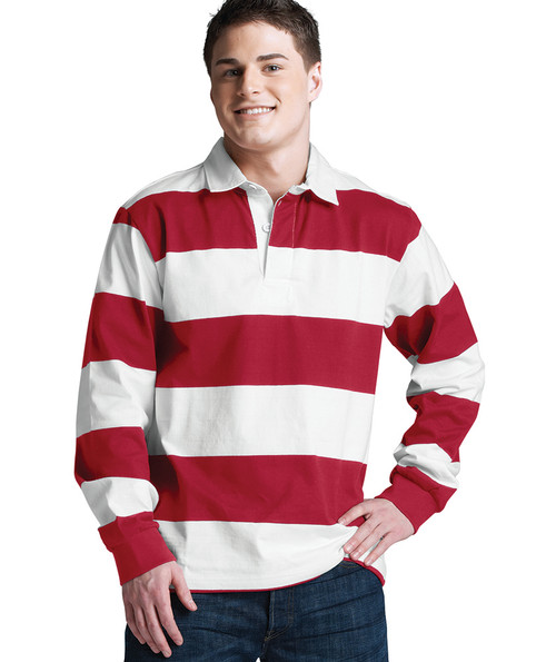 CHARLES RIVER ADULT CLASSIC RUGBY SHIRT~RED/WHITE