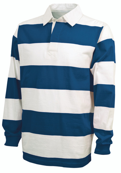 CHARLES RIVER ADULT CLASSIC RUGBY SHIRT~ROYAL/WHITE