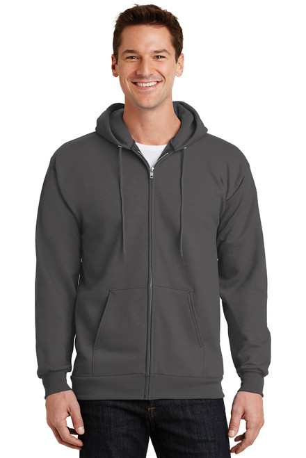 Charcoal Fleece Full-Zip Hooded Sweatshirt