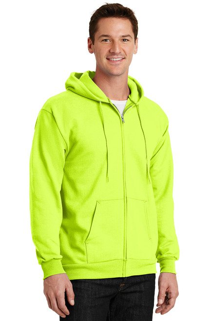 Safety Green Fleece Full-Zip Hooded Sweatshirt