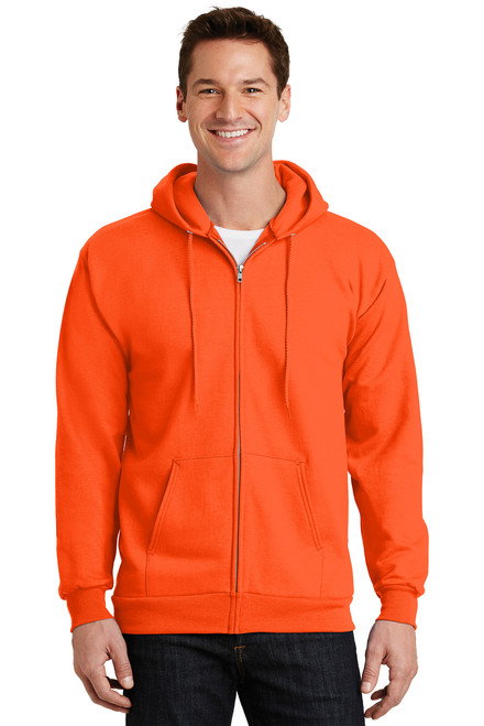 Safety Orange Fleece Full-Zip Hooded Sweatshirt
